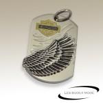Pendentif plaque aile Harley Davidson acier SPE068