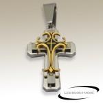 Pendentif croix chrétienne acier gris/doré SPE080