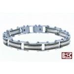 Bracelet maillons rectangles acier doré/noir SBR030