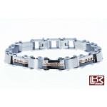 Bracelet fin maillons rectangles acier gris/noir SBR044