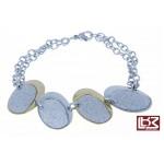 Bracelet chaîne ovales acier gris/doré SBR121