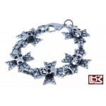 Bracelet têtes de mort croix acier SBR021
