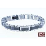 Bracelet maillons rectangles acier gris/noir SBR036