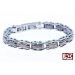 Bracelet maillons rectangles acier gris/bronze SBR041