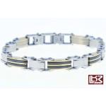 Bracelet maillons rectangles acier gris/doré/noir SBR042