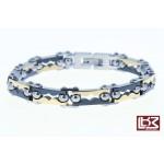 Bracelet fin maillons rectangles acier doré/noir SBR048