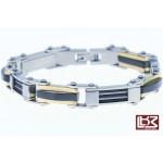 Bracelet maillons rectangles acier gris/doré/noir SBR060
