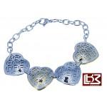Bracelet coeurs acier gris/doré SBR065